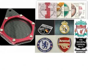 MOTORCYCLE Tax Disc Holder Coat of Arms, Photo, Football Club, Moto Club Badge Holder. [Carbon/Red]